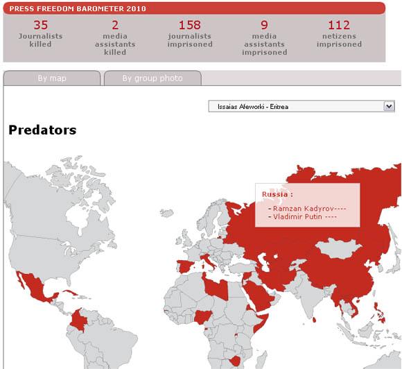 Barometr na stronie rsf.org - 20 października 2010 r.