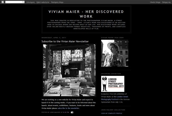 Blog poświęcony dokumentalistce - vivianmaier.blogspot.com